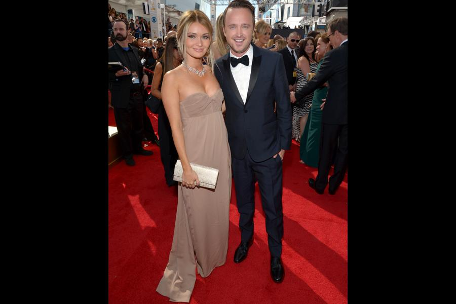 Lauren Parsekian and Aaron Paul on the Red Carpet at the 65th Emmys