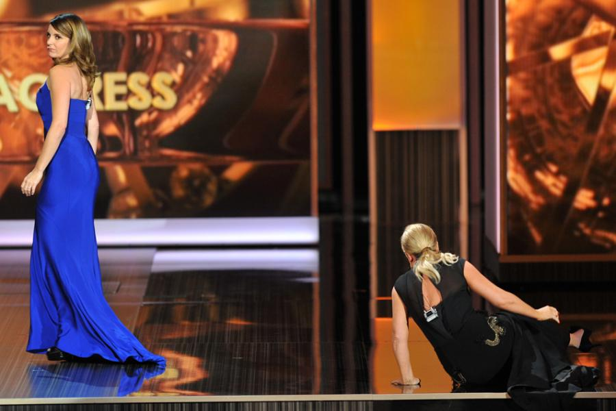 Tina Fey and Amy Poehler on stage at the 65th Emmys