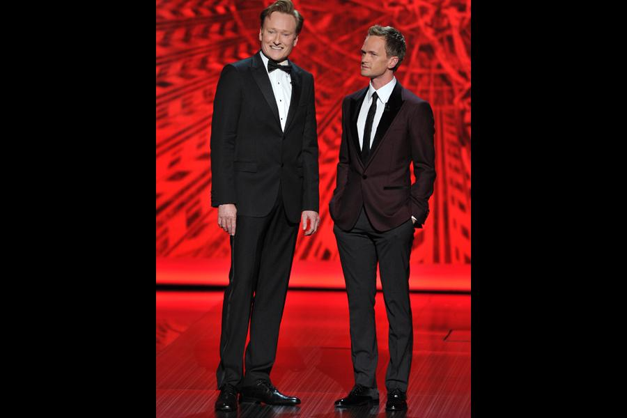Conan O'Brien and Neil Patrick Harris on stage at the 65th Emmys
