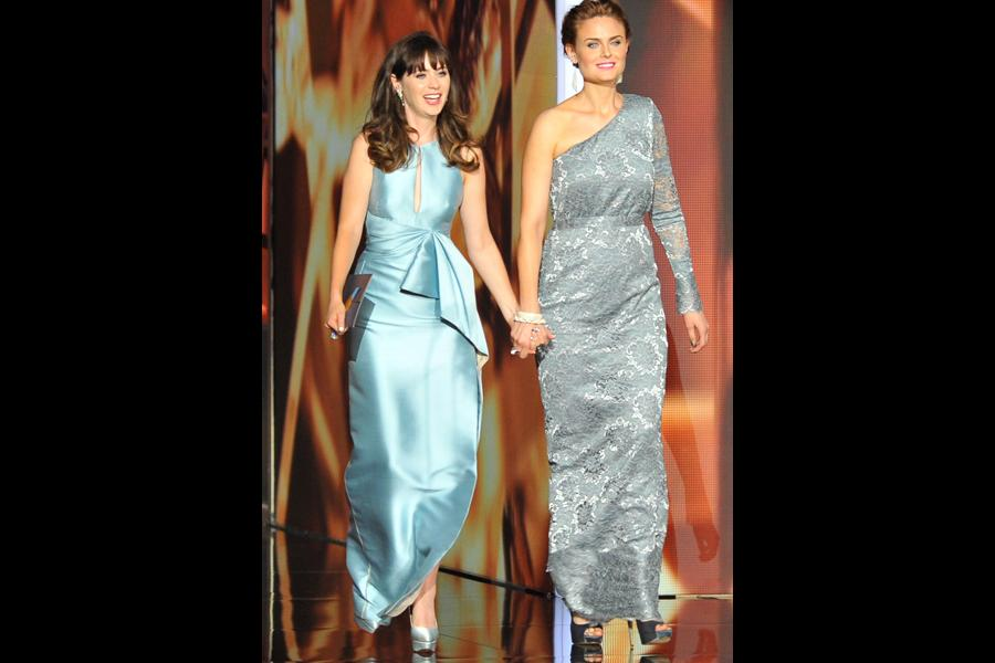 Zooey and Emily Deschanel on stage at the 65th Emmys