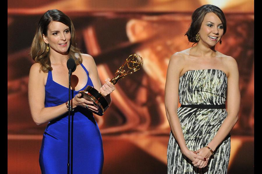 Tina Fey and Tracey Wingfield on stage at the 65th Emmys