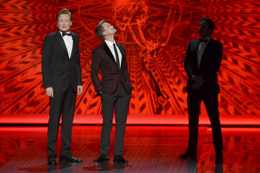 Conan O'Brien, Neil Patrick Harris, and Jimmy Fallon on stage at the 65th Emmys