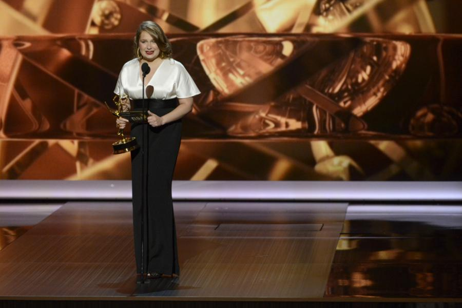 Merritt Wever on stage at the 65th Emmys