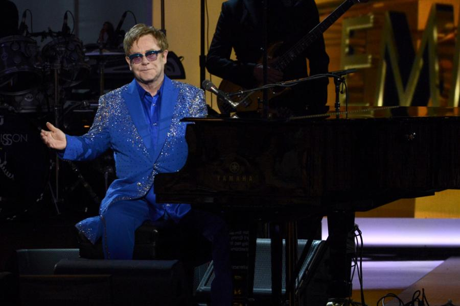 Sir Elton John on stage at the 65th Emmys