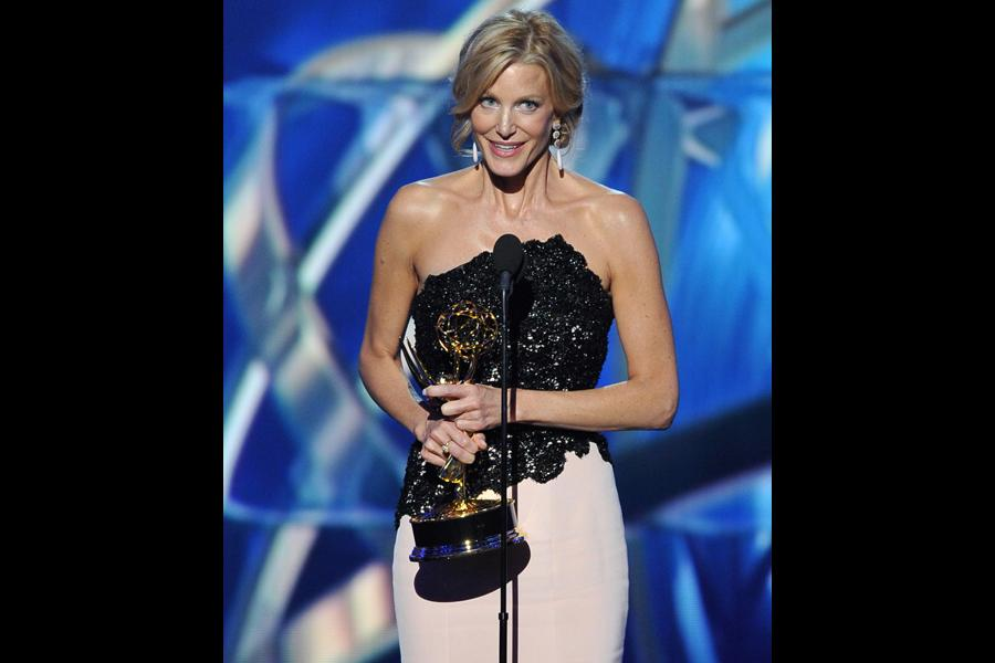 Anna Gunn on stage at the 65th Emmys