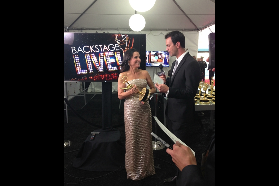 Julia Louis-Dreyfus backstage at the 65th Emmys