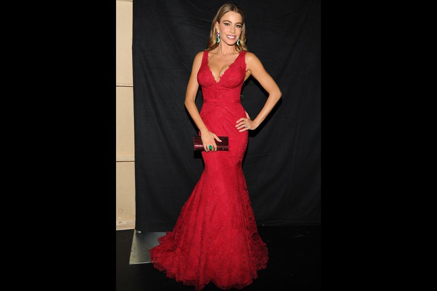 Sofia Vergara backstage at the 65th Emmys