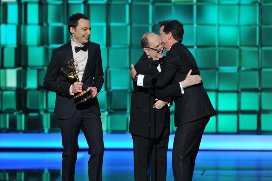 Jim Parsons and Bob Newhart present the award for Outstanding Writing for a Variety Series to Steven Colbert