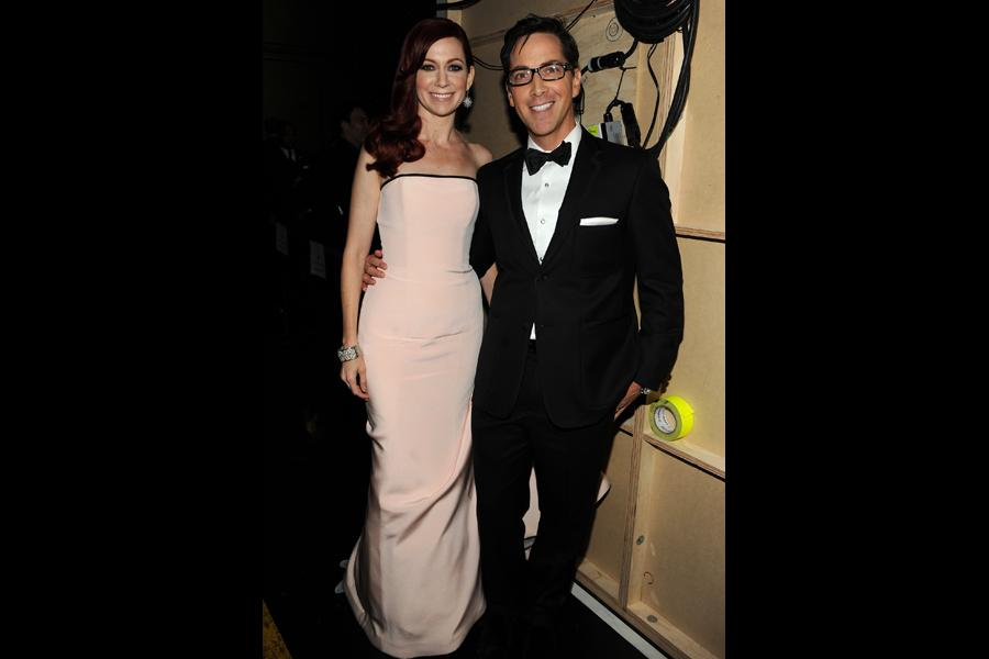 Carrie Prestion and Dan Bucatinsky backstage at the 65th Emmys