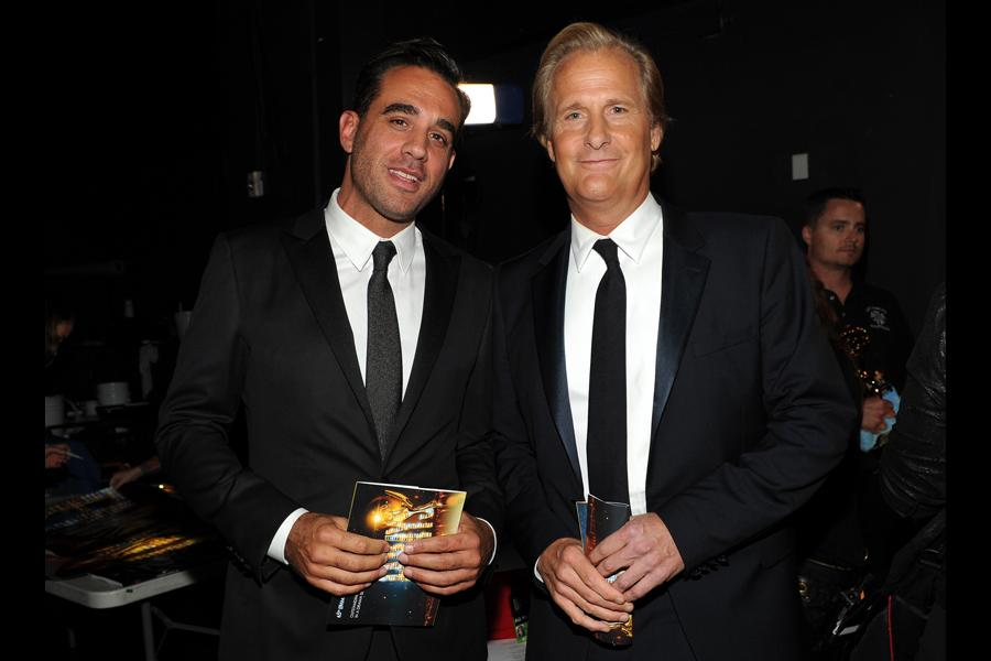 Bobby Cannavale and Jeff Daniels backstage at the 65th Emmys