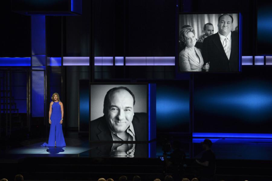 Edie Falco on stage at the 65th Emmys