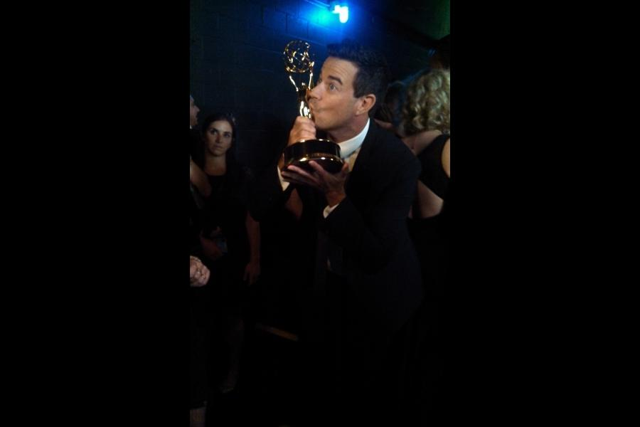 Carson Daly backstage at the 65th Emmys