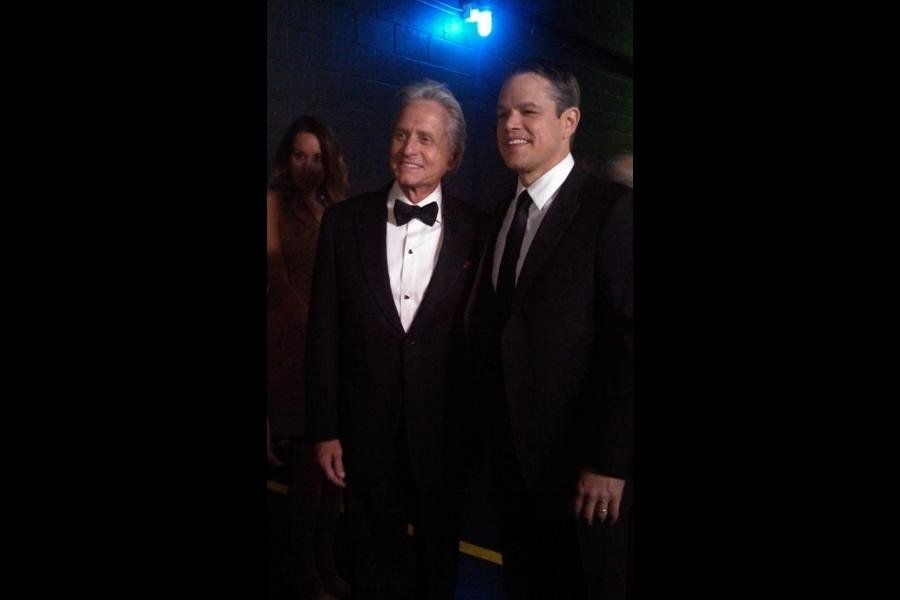 Matt Damon and Michael Douglas backstage at the 65th Emmys