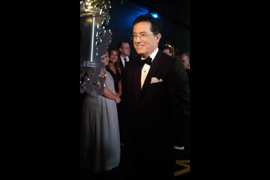 Stephen Colbert backstage at the 65th Emmys