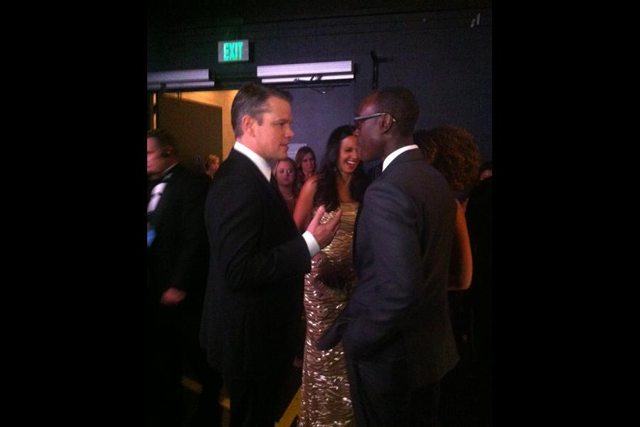Matt Damon backstage at the 65th Emmys