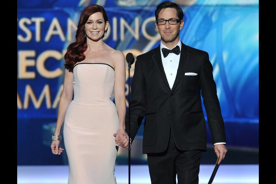 Carrie Preston and Dan Bucatinsky on stage at the 65th Emmys