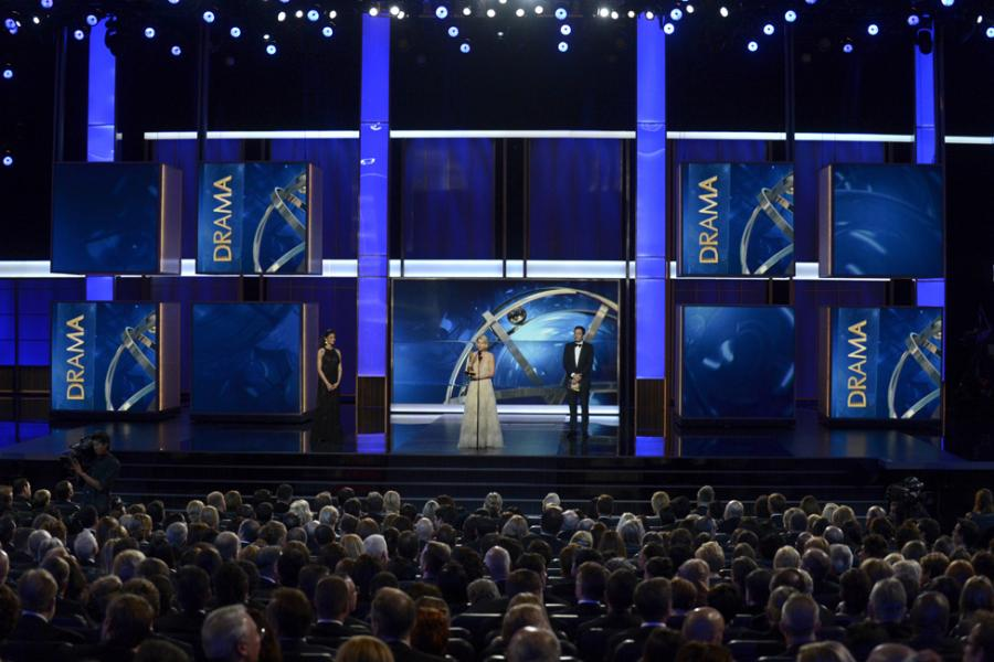 Claire Danes on stage at the 65th Emmys
