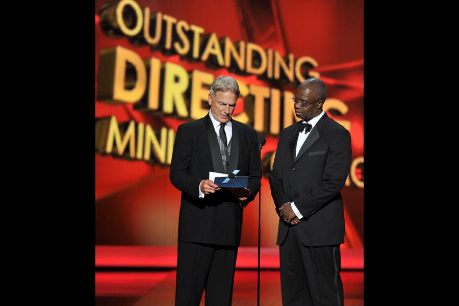 Mark Harmon and Andre Braugher present the award for Outstanding Directing for a Miniseries