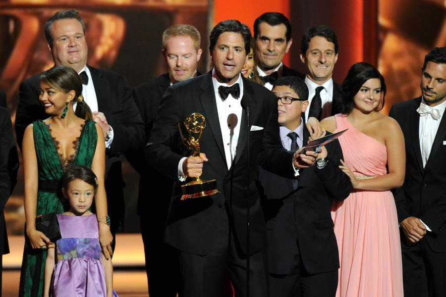 Cast and crew of Modern Family accepts the award for Outstanding Comedy Series