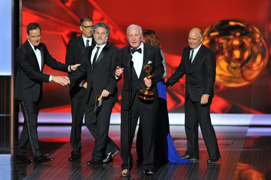 "Jerry Weintraub and the producing team from ""Behind the Candelabra"" accept the award for Outstanding Miniseries or Movie at the 65th Emmys"