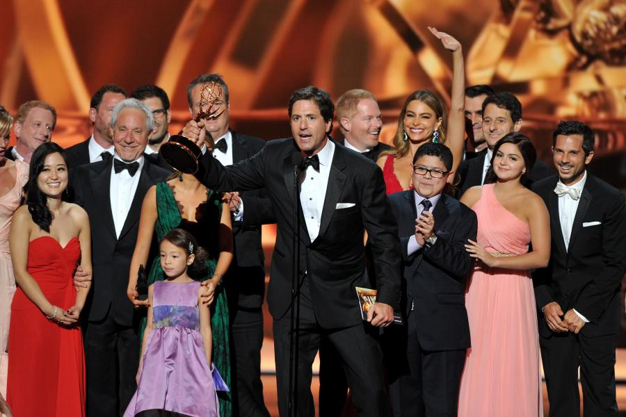 Steven Levitan on stage at the 65th Emmys