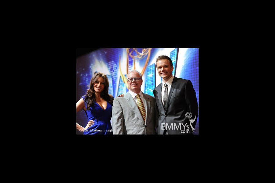 Sofia Vergara, John Shaffner and Joel McHale at the 62nd Primetime Emmy Awards Nominations Ceremony