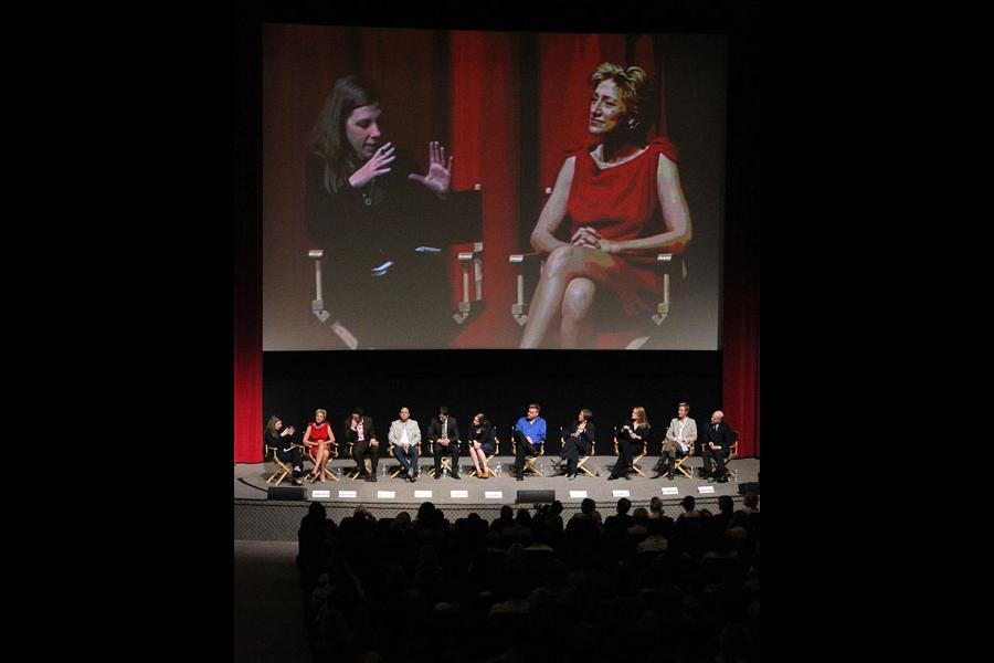 Nurse Jackie castmembers gather on Goldenson Theatre stage in Noho
