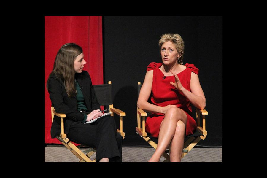 Variety's Cynthia Littleton, the evening's moderator, with actress Edie Falco