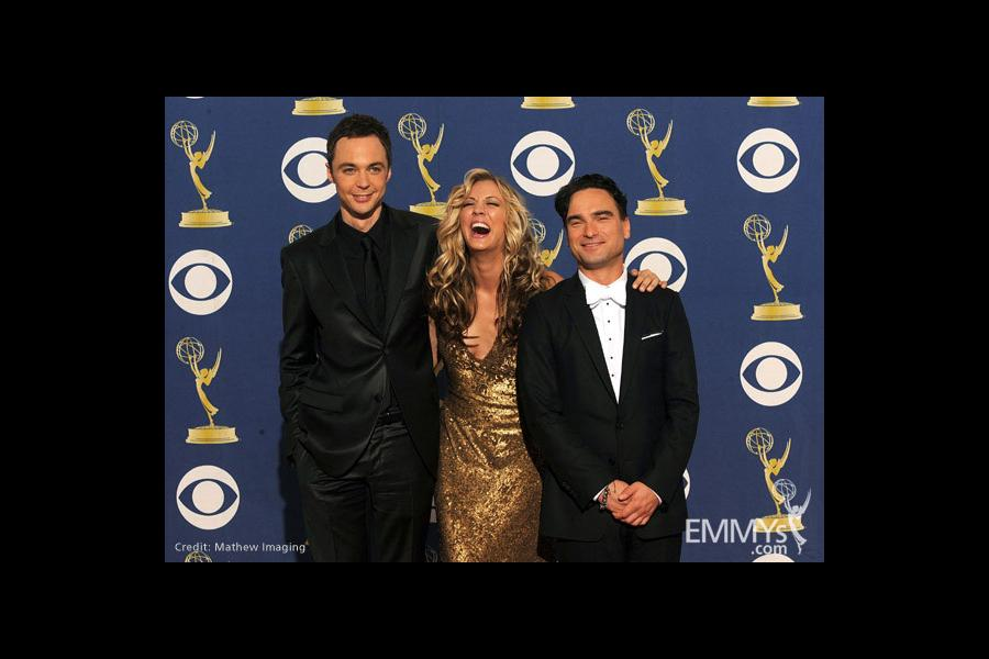 Actors Jim Parsons, Kaley Cuoco and Johnny Galecki