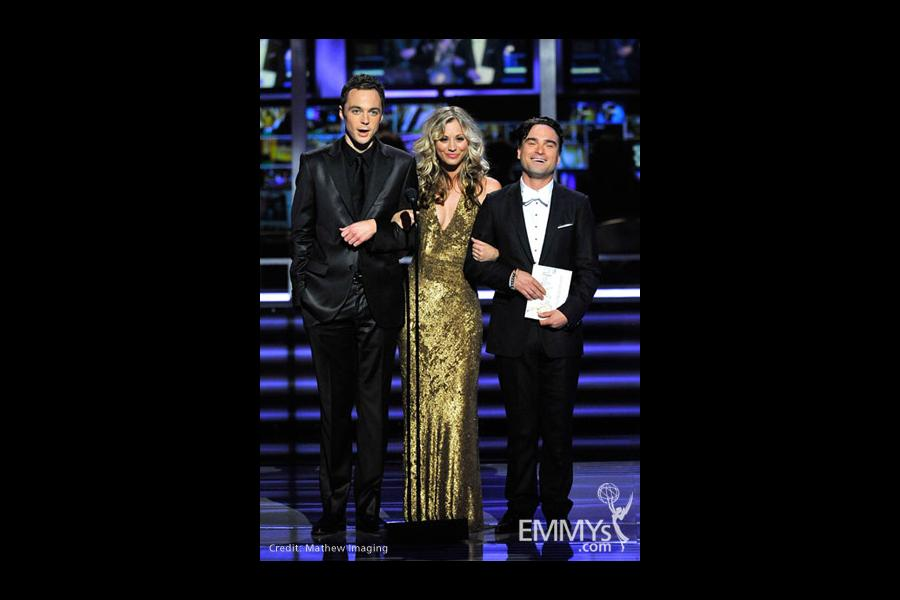 Presenters Jim Parsons, Kaley Cuoco and Johnny Galecki
