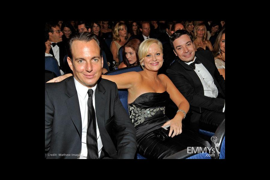 Actors Will Arnett, Amy Poehler and Jimmy Fallon