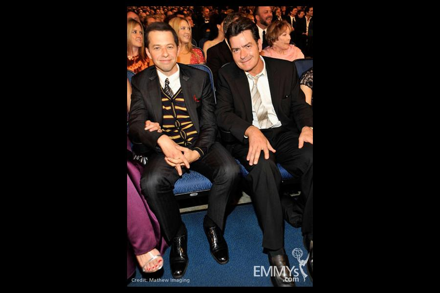 Actors Jon Cryer and Charlie Sheen