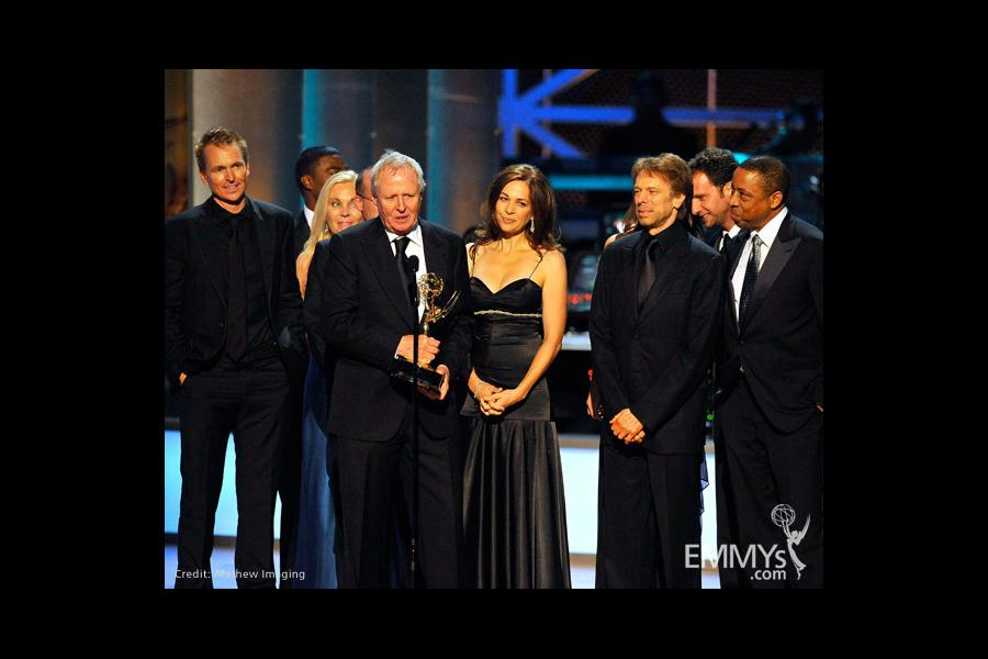 Producer Jerry Bruckheimer (center-right) with cast and crew of The Amazing Race