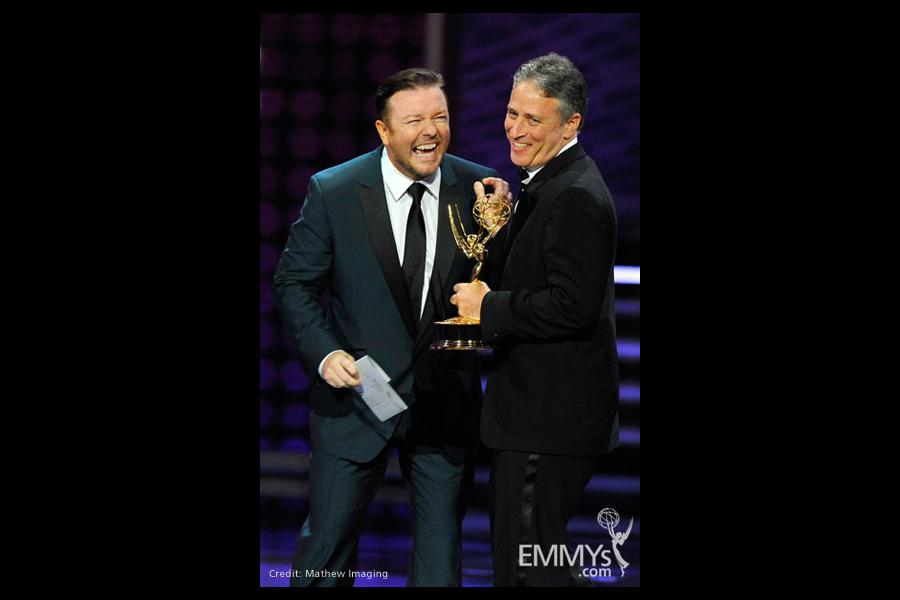 Presenter Ricky Gervais and TV personality Jon Stewart