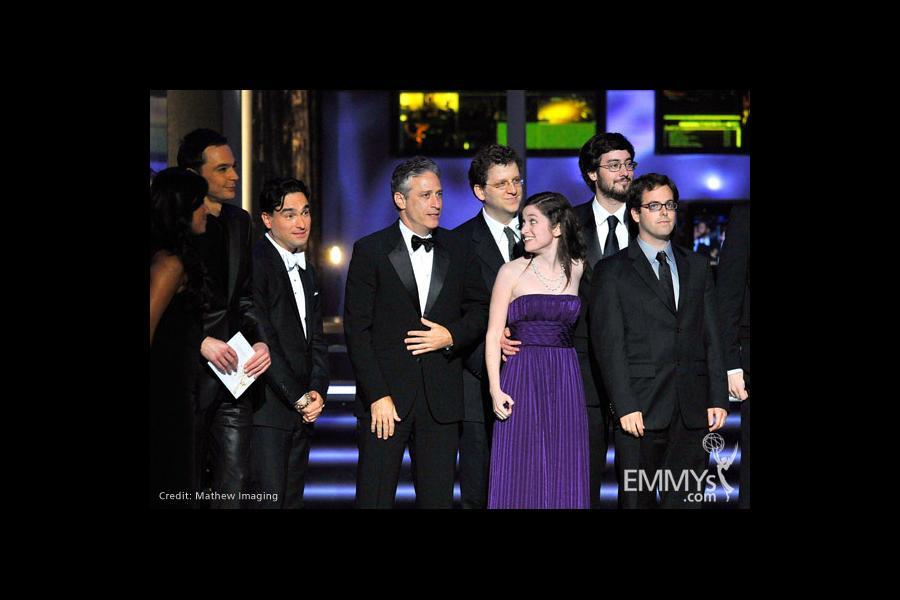 Presenter Johnny Galecki (L) and TV personality Jon Stewart