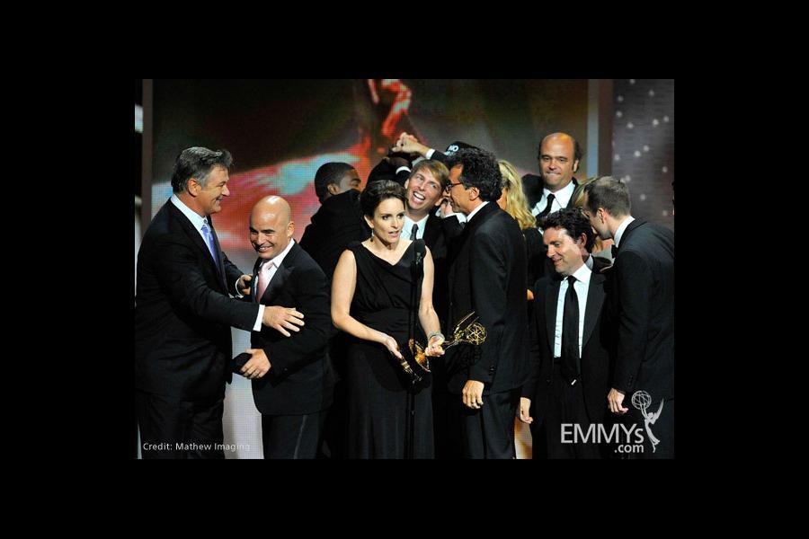 "Actors Alec Baldwin, Tina Fey and Jack McBrayer and ""30 Rock"" cast and crew"