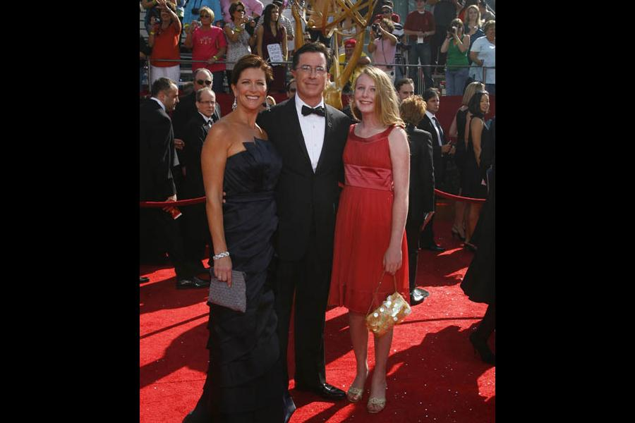 Stephen Colbert with wife Evelyn and daughter Madeleine at the 60th Primetime Emmy Awards