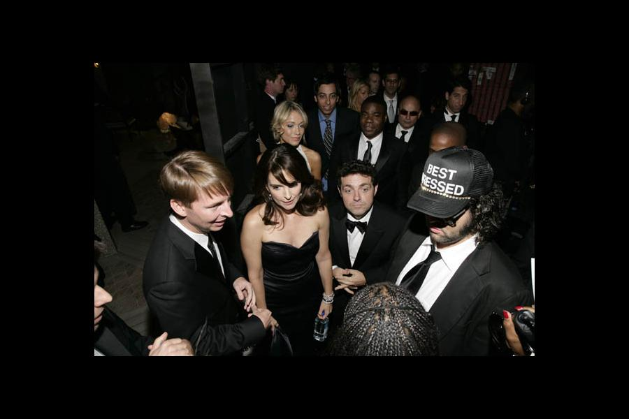 30 Rock star Tina Fey (second from left) with (foreground) co-star Jack McBrayer, husband and co-producer Jeff Richmond