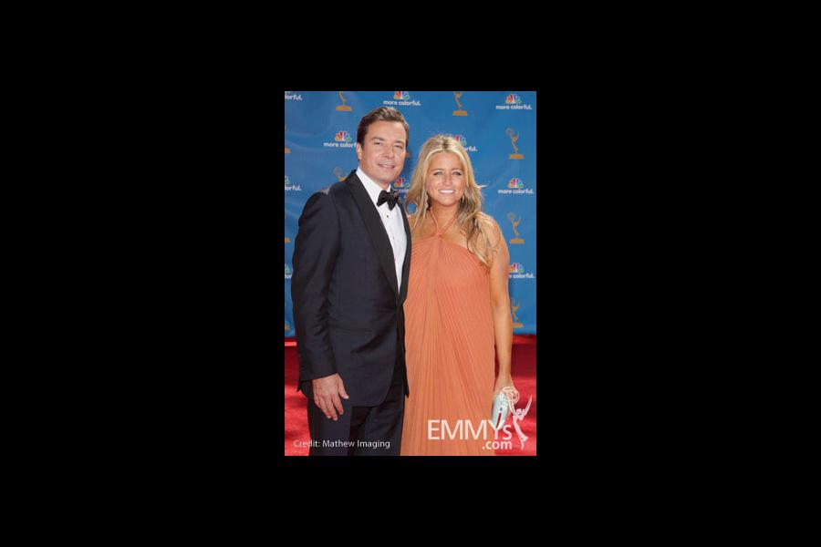 Jimmy Fallon and wife, Nancy Juvonen arrives at the 62nd Annual Primetime Emmy Awards held at the Nokia Theatre