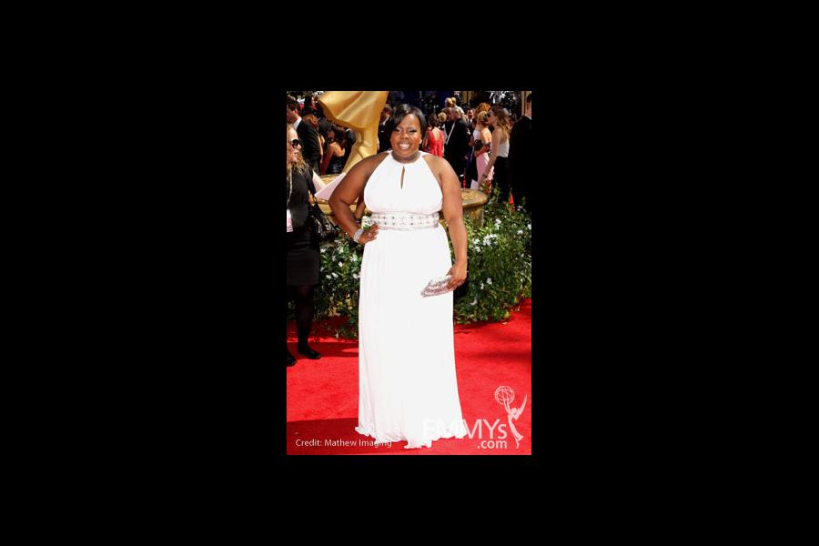 Amber Riley arrives at the 62nd Annual Primetime Emmy Awards held at the Nokia Theatre