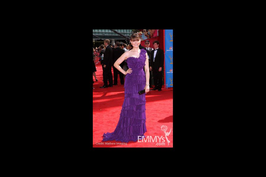 Emily Deschanel arrives at the 62nd Annual Primetime Emmy Awards held at the Nokia Theatre