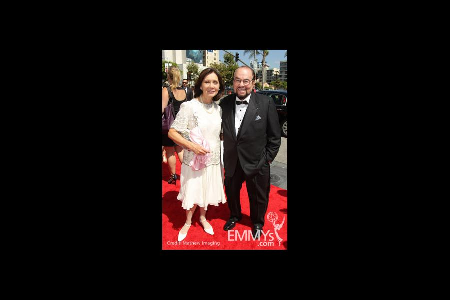 TV host James Lipton (R) and guest arrive at the 62nd Annual Primetime Emmy Awards held at the Nokia Theatre