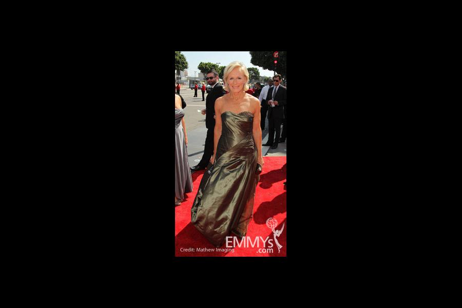 Actress Glenn Close arrives at the 62nd Annual Primetime Emmy Awards held at the Nokia Theatre