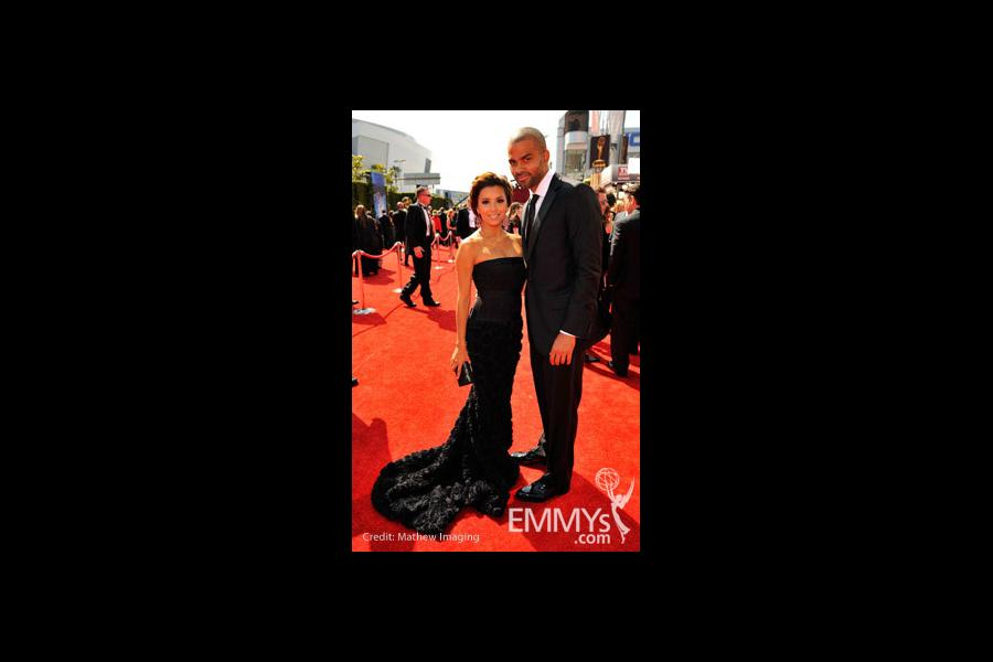 Actress Eva Longoria Parker and NBA player Tony Parker arrive at the 62nd Annual Primetime Emmy Awards held at the Nokia Theatre