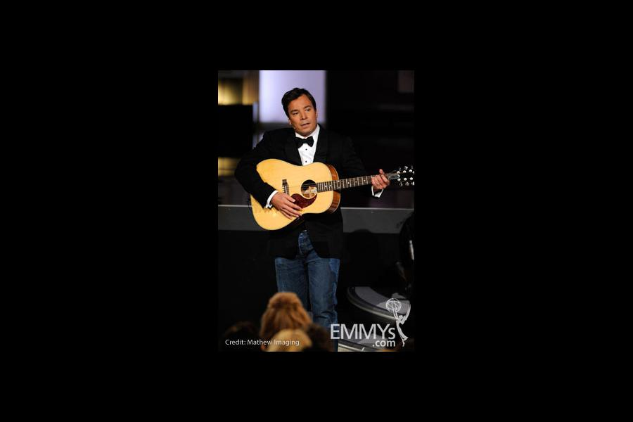 Host Jimmy Fallon  performs onstage at the 62nd Annual Primetime Emmy Awards held at the Nokia Theatre