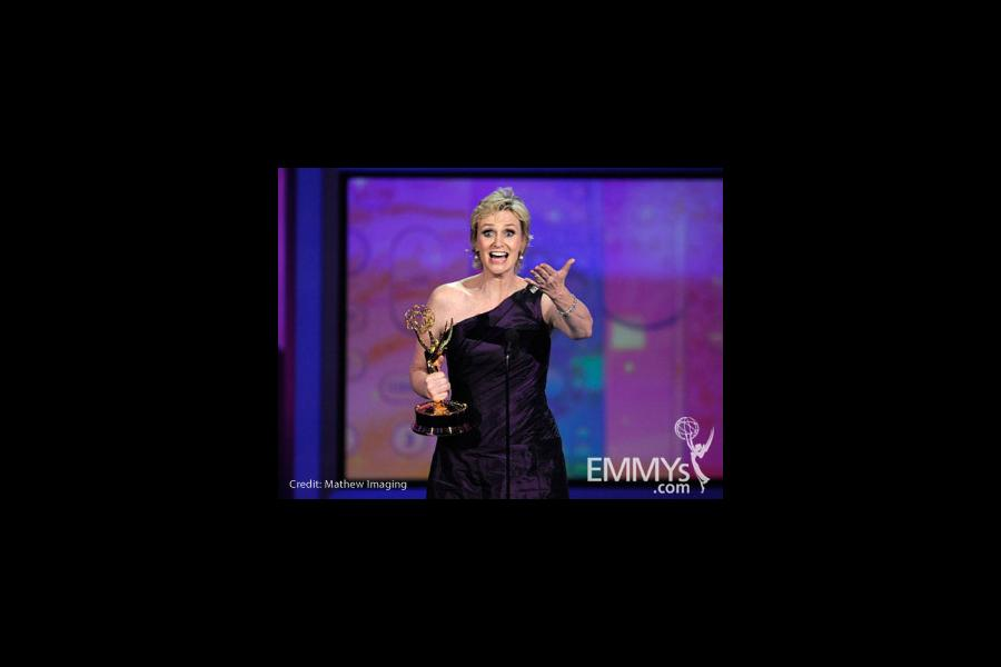 Actress Jane Lynch accepts her award onstage at the 62nd Annual Primetime Emmy Awards held at the Nokia Theatre