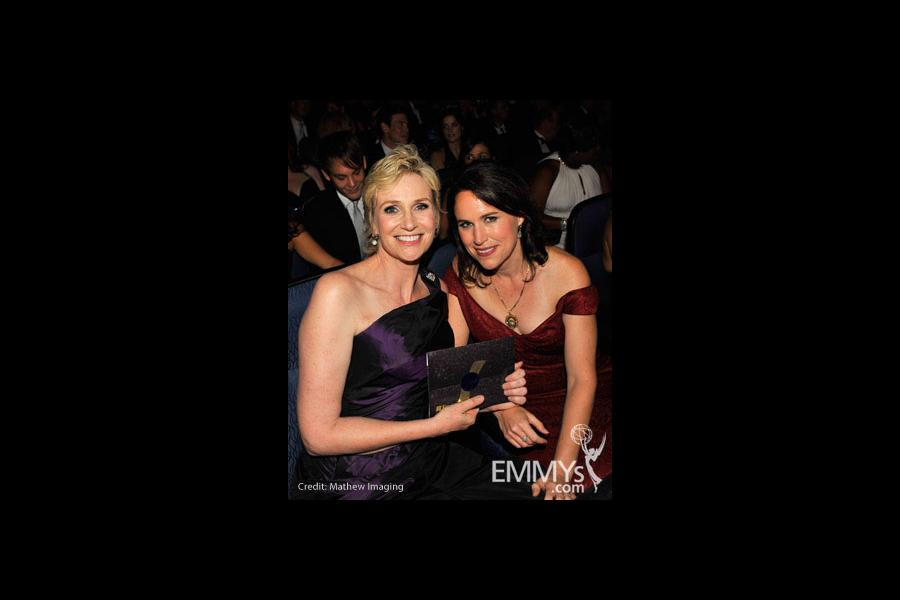 Actress Jane Lynch and wife Lara Embry attend the 62nd Annual Primetime Emmy Awards held at Nokia Theatre