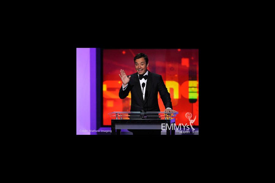 Host Jimmy Fallon speaks onstage at the 62nd Annual Primetime Emmy Awards held at the Nokia Theatre