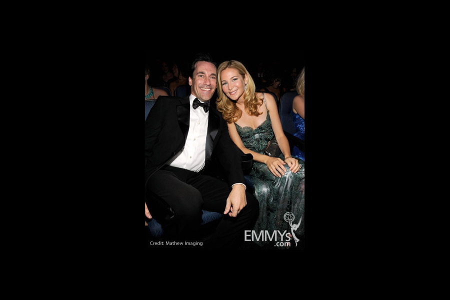 Actors Jon Hamm and wife Jennifer Westfeldt attend the 62nd Annual Primetime Emmy Awards held at Nokia Theatre