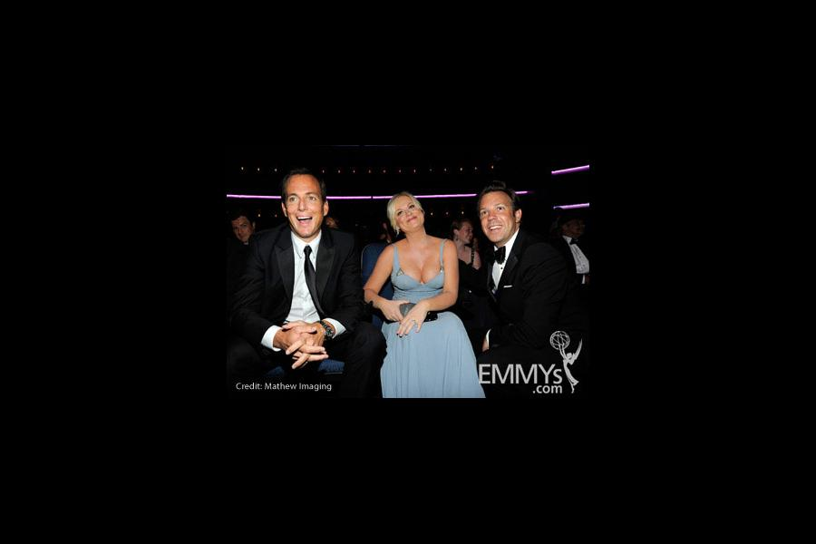 Actors Will Arnett, Amy Poehler and Jason Sudeikis attend the 62nd Annual Primetime Emmy Awards held at Nokia Theatre